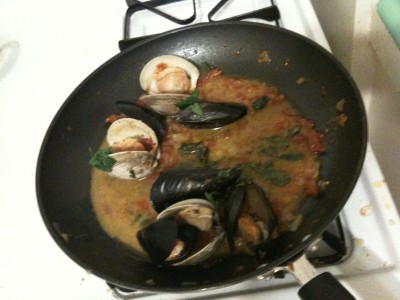 making the vongole sauce