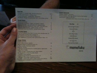 Ssam Bar Menu