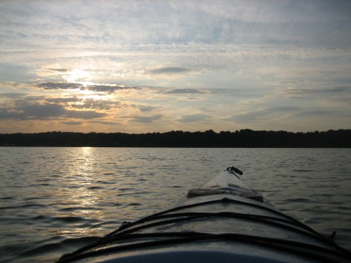 watching the Chesapeake sunset from my kayak