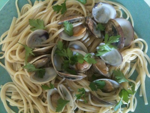 add the clams after putting a portion of pasta on each plate