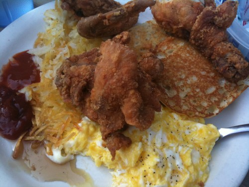Jodie's fried chicken with eggs, english muffins and hash browns